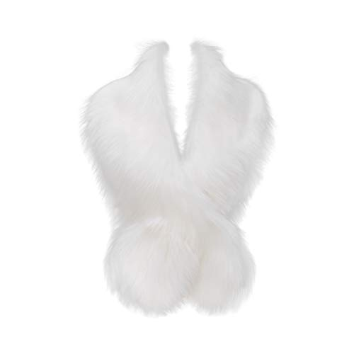 Faux Fur Collar Scarf Shrug for Winter Coat Flapper Fur Feather Boa Gatsby Wrap 1920s Shawl Accessories (White1)