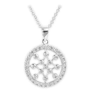 Glitzs Jewels 925 Sterling Silver Cubic Zirconia Necklace for Women Clear