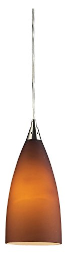 (Vesta 1 Light Pendant in Satin Nickel and Tobacco Glass)