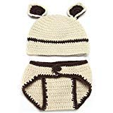 Matissa Newborn Baby Girl/Boy Crochet Knit Costume Photo Photography Prop Hats Outfits (Bear)