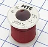 NTE Electronics WH26-02-100 Hook Up Wire, Stranded, Type 26 Gauge, 100' Length, Red