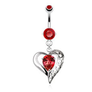Steel 14 Gauge 3/8' Curved - 316L Surgical Steel Vintage Heart with Teardrop Red Colored Gem Dangle Belly Ring - 14G (1.6mm), 3/8'' Bar Length