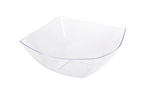 Blue Sky, Square Unbreakable Clear Plastic Serving Bowls, 32 Ounce, Set of 5, Party Snack or Salad Bowl.