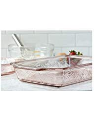 Anchor Hocking 4-Piece Laurel Embossed Rosewater Bake and Serve Set