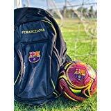 (FC Barcelona Soccer Backpack + Barca Soccer Ball Size 5 Official Licensed Soccer Gift for Kids, Players, Trainers, Coaches - La Liga Futbol Espanol Mochila)