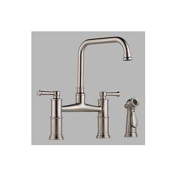 Brizo 62525lf High Arc Bridge Kitchen Faucet With Side