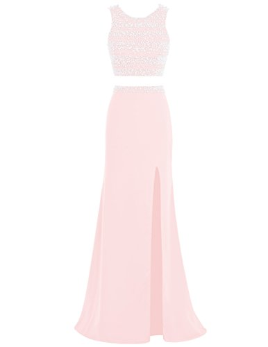 0e7124a02d4 Dresstells® Long Mermaid Prom Dress 2016 Pearls Two Pieces Evening Gowns  with Slit Pink Size
