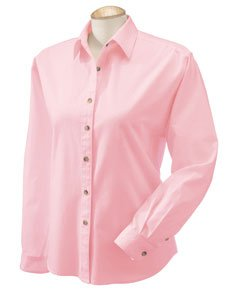 - Devon & Jones Classic women's Titan Long Sleeve Twill Shirt, Large, PINK