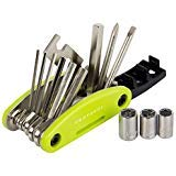 Protocol Bicycle Multi Tool: 15 Functions; Multi Tool for Bikes with Multiple hex Keys to fit Any Size Bolt or Screw, fold Out Phillips and Slotted Screwdrivers, Includes Carrying case