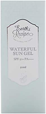 Earth's Recipe Waterful Sun Gel 50ml SPF 50+ PA+++ Facial Sunscreen with S.Pellegrino Sparkling Water Rich Watery Essence Broad Spectrum Moisturizing Sunblock Oil-Free Light Aqua Fragrance Non-Tinted