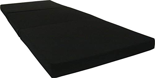 D&D Futon Furniture Black Trifold Foam Beds 3 x 27 X 75 Inch, Floor Tri-Fold Bed, High Density Foam 1.8 Pounds