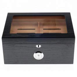 Quality Importers Milano Glasstop Cigar Humidor, Holds 75-100 Cigars, Black Oak, 1 ()
