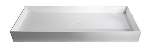 ID Solid Surface White Rectangular Vessel Sink Bowl Above Counter Sink Lavatory (Large (39 in. W)) by ID Bath Collection