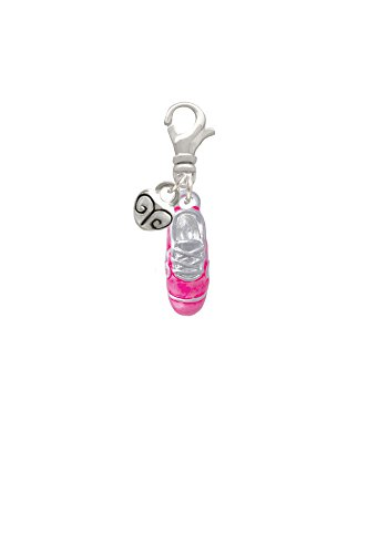 3-D Hot Pink Running Shoe Mini Heart Clip On - Bunny Charm Pink
