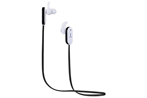 Neojdx Wingz Bluetooth Headphones, Wireless sweat proof Earbuds Stereo Earphones, Secure Fit for Sports with Built-in Mic - white/black (Wireless Cell Phone Bluetooth)