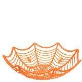 Halloween Plastic Spider Web-Shaped Halloween Candy Bowl (Orange)