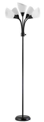 Design Trends 19002-07 Contemporary Adjustable Floor Lamp with Five White Shades, Black, 1-Pack