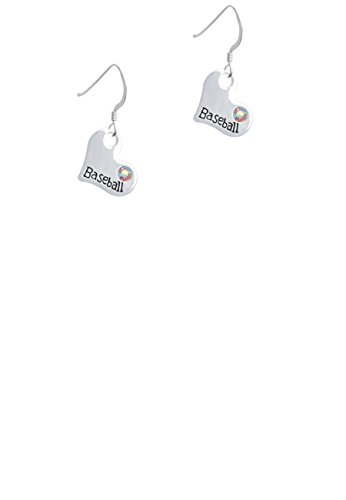 (Heart with ''Baseball'' and AB Crystal - French Earrings)
