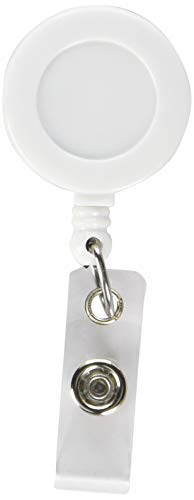 Retractable Badge Reel - WHITE with Belt Clip