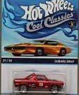 HOT WHEELS COOL CLASSICS RED SUBARU BRAT WITH PICTURE OF ORANGE CAR ON PACKAGE