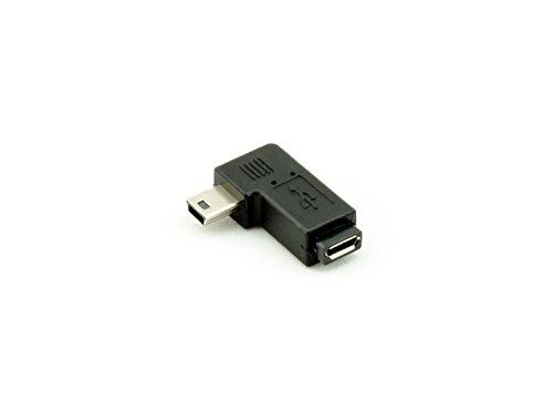 Angle droit M/Mini USB femelle vers Micro USB, Mini USB, adaptateur coudé M/F