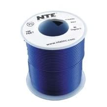 NTE Electronics WH22-06-100 Hook Up Wire, Stranded, Type 22 Gauge, 100' Length, Blue
