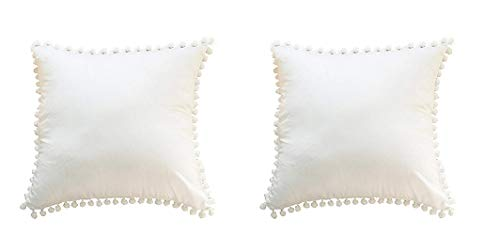 Meaning4 Off White Euro Pillow Covers Cases Cotton with Pom Poms 26 x 26 Pack of 2