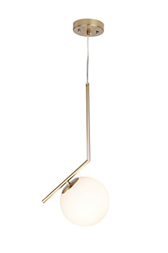 Satin Pendant Clear Gold (EQLight EQMCPB011 Modern Mid 1-Light Globe Pendant, Gold, White)