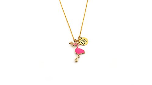 Charm Gold Plated Florida - Exotic Bird Pink Flamingo Charm - Personalized Initial Hand Stamped Gold Necklace