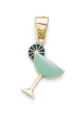 14 carats-Émail-Vert-verre à Martini-JewelryWeb