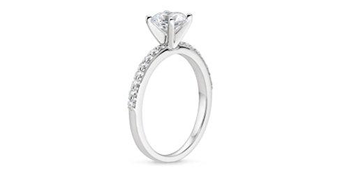 1CT Taille brillant rond Diamant Or Blanc 14K Bague de fiançailles, tous les Taille J à Z disponibles