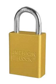 American Lock® Yellow 1 1/2'' X 3/4'' Aluminum 5 Pin Safety Lockout Padlock With 1/4'' X 3/4'' X 1'' Shackle (6 Pack)