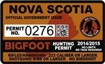 "Nova Scotia Canada Bigfoot Hunting Permit 2.4"" x 4"" Decal Sticker"