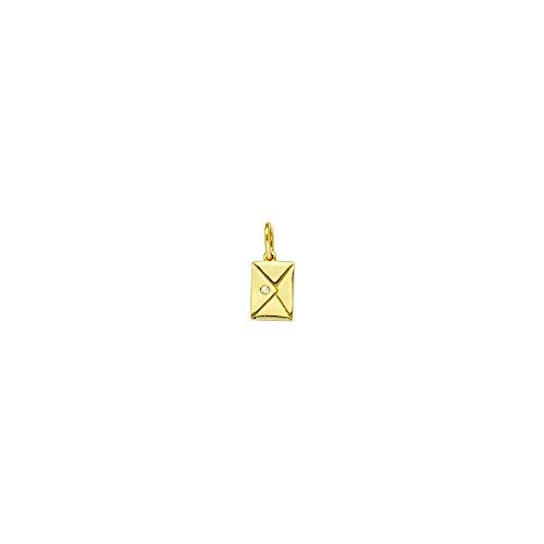 14k Yellow Gold 0.01 Dwt Diamond Mini Envelope (Yellow Gold Diamond Heart Tag)