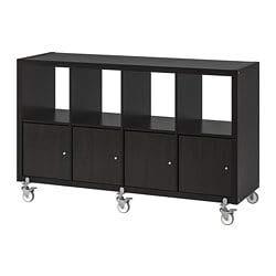 Ikea Kallax Libreria Mobile Tv Scaffale 4 Ante Con Rotelle Marrone