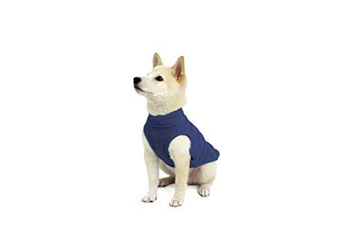 - Gooby - Stretch Fleece Vest, Pullover Fleece Vest Jacket Sweater for Dogs, Indigo Blue, Medium
