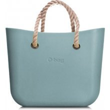 O Bag borsa mini azzurra con manici in corda corti beige