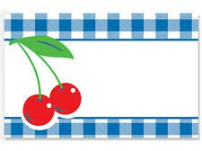 50ct. GINGHAM PLAID CHERRIES Floral Blank Florist Enclosure Cards Small Tags