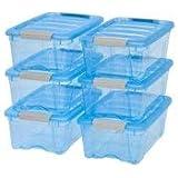 IRIS 54 Qt. Stack and Pull Plastic Storage Box, Trans Blue Set of 6