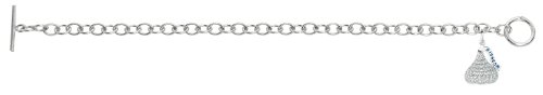 Sterling silver & white Cubic Zirconium 3D Hershey's Kiss April Bracelet with one Medium kiss