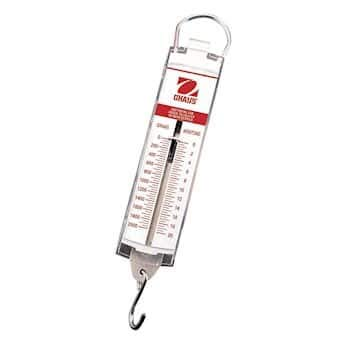 - Ohaus 8008-MN Pull-Type Hanging Spring Scales, 5000g x 100g, and 50N x 1N
