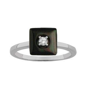 1001 Bijoux - Bague argent rhodié nacre noire véritable forme carré petite pierre blanche synthétique