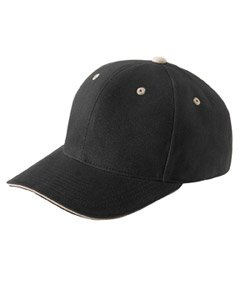 Yupoong mens Brushed Cotton Twill 6-Panel Mid-Profile Sandwich Cap(6262S)-BLACK/ KHAKI-OS Brushed Twill Sandwich