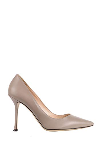 Sergio Rossi Womens Taupe Leather Scarpe Donna Classic Pumps IT37.5/US7.5~$675 Grey
