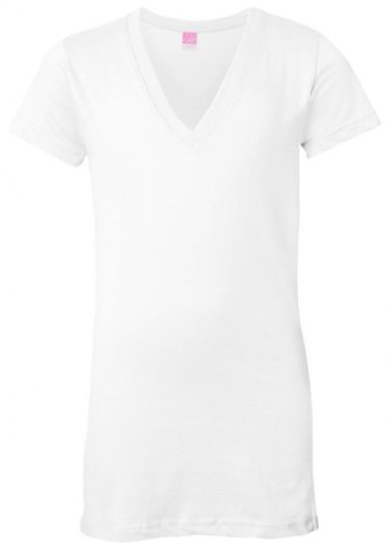 Yoga Clothing For You Women's Longer Length V-Neck T-Shirt, Large White