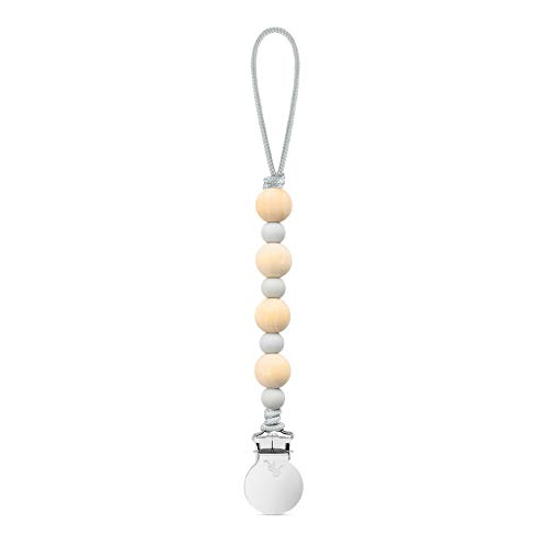 Ryan & Rose Beaded Pacifier Cutie Clip (Grey, Ruth) from Ryan & Rose