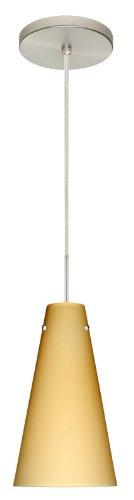 - Besa Lighting 1JT-4124VM-SN 1X100W A19 Cierro Pendant with Vanilla Matte Glass, Satin Nickel Finish