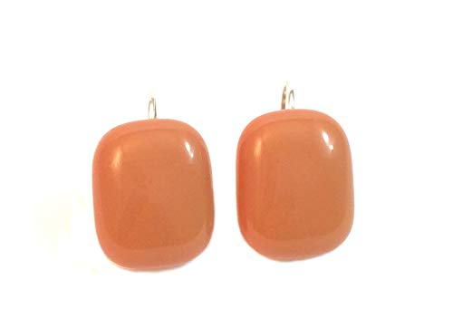 Handmade Fused Glass Solid Melon Color Rectangular Earrings by Gerty