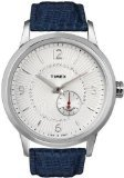 Timex Unisex T Series Classic Automatic Crystal Encrusted White Dial Blue Leather Watch T2N351