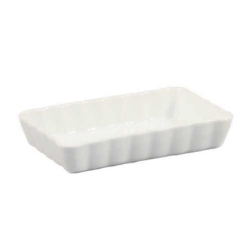 CAC China QCD-RT7 Porcelain Rectangular Fluted Quiche Dish, 7 by 4-1/2-Inch, Super White, Box of 36 by CAC China